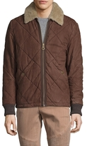 Timberland Leather Quilted Shearling Collar Jacket