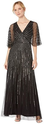 Adrianna Papell Sequin V-Neck Dress (Black/Gunmetal) Women's Dress