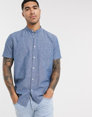 Esprit shirt with grandad collar in blue