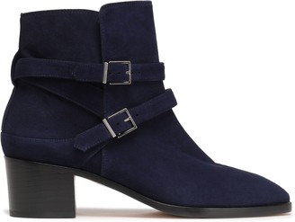 Stuart Weitzman Buckled Suede Ankle Boots