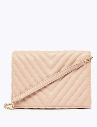 M&S CollectionMarks and Spencer Foldover Chevron Quilted Clutch Bag