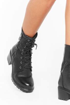Nasty Gal Womens Admit Zip Faux Leather Lace-Up Hiker Boots - black - 3
