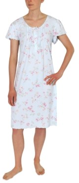 Miss Elaine Floral-Print Knit Short Nightgown