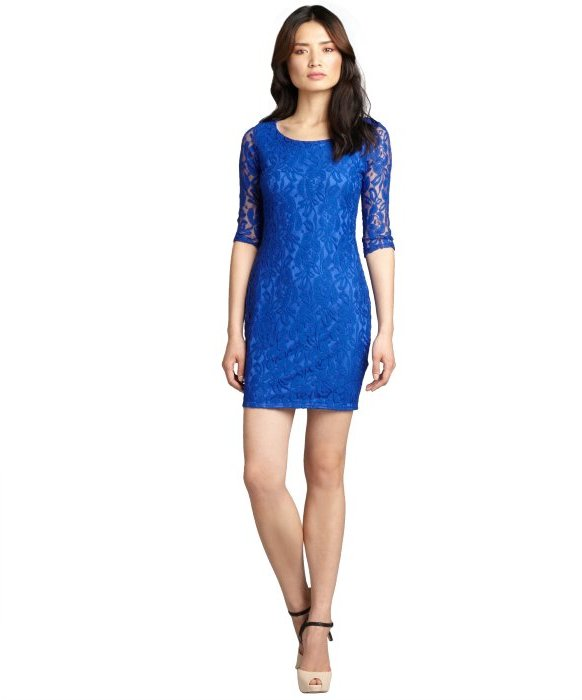 Wyatt sapphire lace cotton blend cutout back party dress