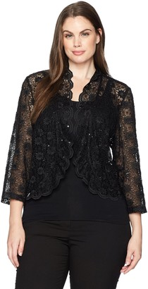 R & M Richards R&M Richards Women's 1 Piece Laced Jacket Shrug with Sequins in Plus Size