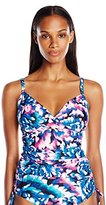 Calvin Klein Women's Wild Blooms Twisted Tankini with Sewn in Soft Cups and Tummy Control