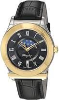 Salvatore Ferragamo Men's 'FERAGAMO 1898' Quartz Stainless Steel and Leather Casual Watch, Color:Black (Model: FBG020016)