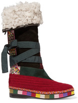 Etro Shearling-lined Paneled Suede Knee Boots - Red