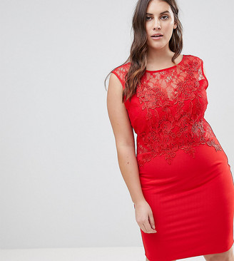 Lipsy Curve Lace Applique Bodycon Dress-Red