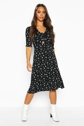 boohoo Ditsy Floral Print Jersey Midi Dress