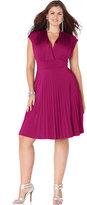 Soprano Trendy Plus Size Cap-Sleeve Pleated Empire Dress