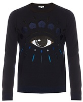 Kenzo Eye-appliqué Crew-neck Wool-blend Sweater