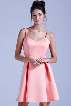 Girls On Film Coral Structured Bow Back Prom Dress