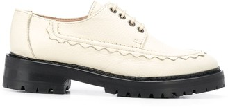 ALEXACHUNG Tumbled Leather Lace-Up Shoes