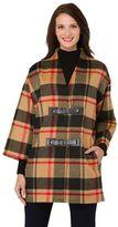 Haggar Women's Wool Plaid Coat