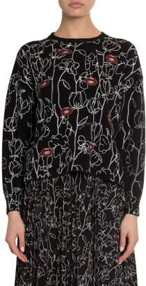 Valentino Embroidered Lips Flower Sweater