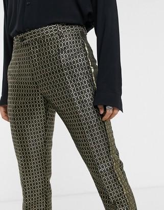 ASOS DESIGN slim suit smart trousers in gold diamond jacquard