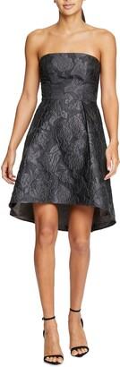 Halston Jacquard Strapless Fit & Flare Cocktail Dress
