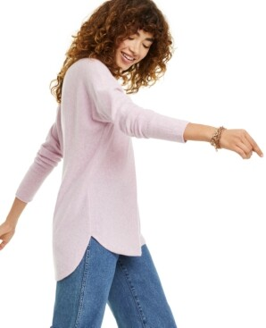 Charter Club Petite Pure Cashmere Long-Sleeve Shirttail Sweater, Created for Macy's