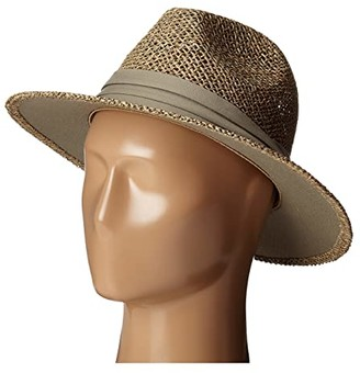 San Diego Hat Company SGM502 Rush Straw Wide Brim Fedora (Olive) Fedora Hats