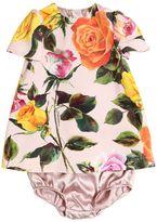 Dolce & Gabbana Roses Print Crepe Dress & Diaper Cover