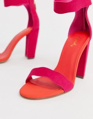 Qupid scalloped block heeled sandals