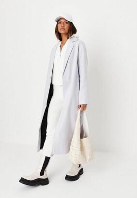 Missguided Gray Side Side Split Formal Midaxi Coat