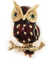 Avalaya Small Brown Enamel 'Owl' Brooch In Gold Plated Metal
