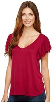 B Collection by Bobeau - Liv Flutter Sleeve Knit Top Women's Short Sleeve Pullover