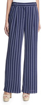 MICHAEL Michael Kors Bengal-Striped Wide-Leg Pants, Navy
