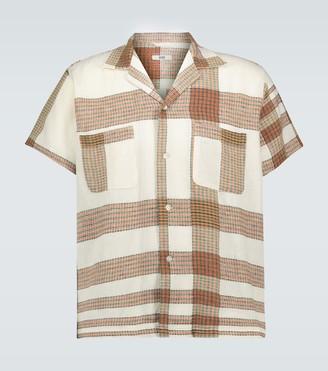 Bode Plaid linen bowling shirt