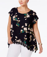 ING Plus Size Floral-Print Lace-Hem Top