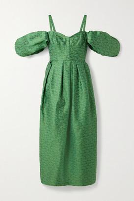 Rosie Assoulin Pleated Cold-shoulder Brocade Midi Dress - Jade
