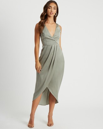 CHANCERY - Women's Green Midi Dresses - Dita Pleated Midi Dress - Size 6 at The Iconic