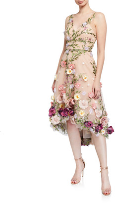 Marchesa V-Neck Embroidered High-Low Dress w/ 3D Flowers
