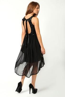 boohoo Sequin Top Open Back Chiffon Dip Hem Dress