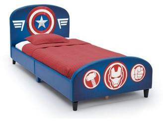 Marvel Delta Children Avengers Upholstered Twin Bed, with Thor, Iron Man, Hulk, & Captain America