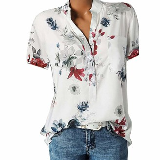 VECDY Women's Tops Causal Ladies Blouse Simple Plus Size Top for Women Sexy Floral Print Short Sleeve Shirt with Pocket 10-24 Size(20