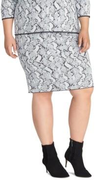 Rachel Roy Trendy Plus Size Lindey Snake-Embossed Sweater Skirt