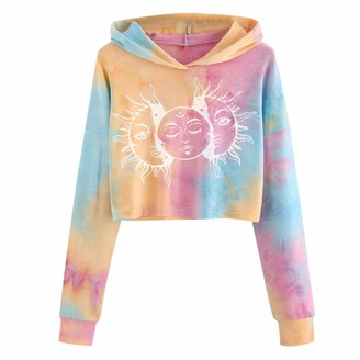 Mllkcao Women Tops for Ladies Fashion Tie-dye Long Sleeve Blouse Casual Printed Belly Button Pullover Sweatshirt White