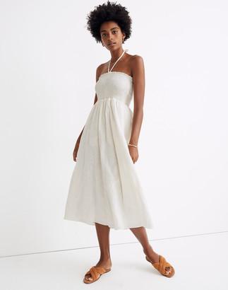 Madewell x Warm Embroidered Smocked Midi Dress