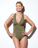 Spanx Brand Women's Woven Strap One Piece Swim Suit