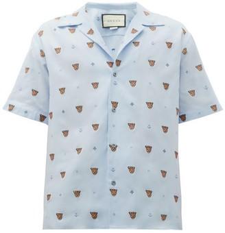 Gucci Tiger Head-jacquard Cotton Shirt - Mens - Blue