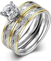 LUNULE Couples Rings His and Hers Titanium Matching Band Engagement Wedding Sets Size 6-9