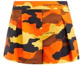 Off-White Off White Camouflage-print Pleated Cotton Shorts - Womens - Brown Multi