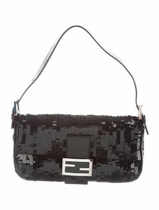 Fendi Sequin-Embellished Baguette Black