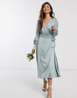 TFNC bridesmaids long sleeve wrap front sateen midi dress with belt in sage