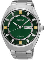Seiko Recraft Mens Stainless Steel Green Automatic Bracelet Watch
