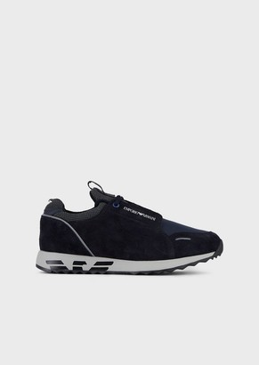 Emporio Armani Suede And Technical Fabric Sneakers With Branded Sole