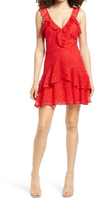 ALL IN FAVOR Ruffle Tiered Lace Minidress